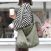 帆布單肩包-復古作舊休閒純色女手提包4色73wo43【巴黎精品】