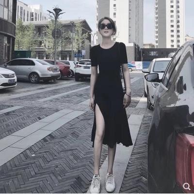 VK旗艦店 韓國風名媛氣質開叉長版圓領顯瘦短袖洋裝