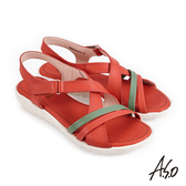 A.S.O 機能休閒 厚底美學撞色條帶魔鬼氈休閒涼鞋 紅