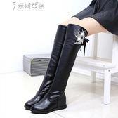 皮靴內增高水鉆女鞋秋冬騎士靴平跟學院長筒靴子 奈斯女裝