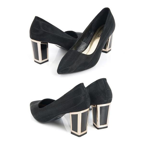 TAS 紋金屬後跟混搭高跟鞋-派對黑