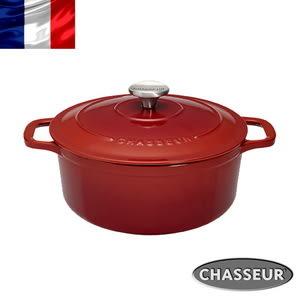 法國【CHASSEUR】獵人黑琺瑯鑄鐵彩鍋24cm(櫻桃紅)