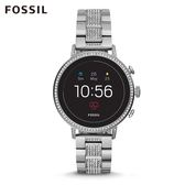 FOSSIL Q VENTURE HR 銀色不鏽鋼觸控式螢幕智慧手錶 女