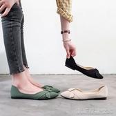 單鞋豆豆鞋女鞋新款秋鞋尖頭平底媽媽單鞋女淺口小皮鞋百搭樂福鞋 凱斯盾