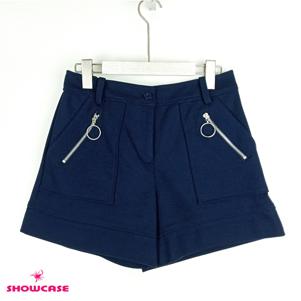 【SHOWCASE】簡約圓拉鍊方口袋短褲(藍)