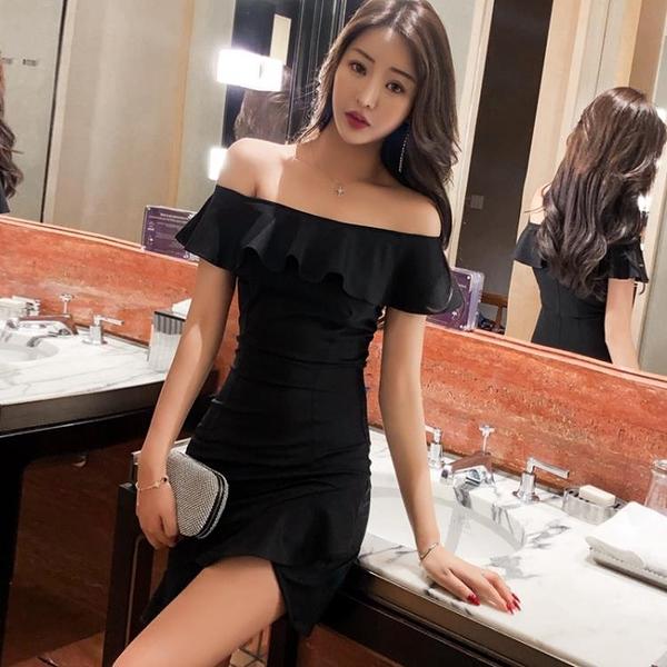 夜店洋裝 夜店性感女裝夏季名媛氣質修身顯瘦包臀魚尾禮服一字肩連身裙 芊墨 618大促