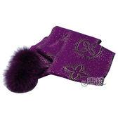 【Louis Vuitton 路易威登】M72741 Monogram Poliana金銀絲喀什米爾羊毛絨球圍巾(深紫)