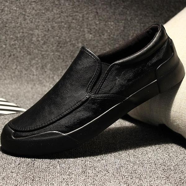 男鞋夏季男士休閒鞋休閒皮鞋懶人一腳蹬正韓百搭潮流青年英倫鞋子【免運】