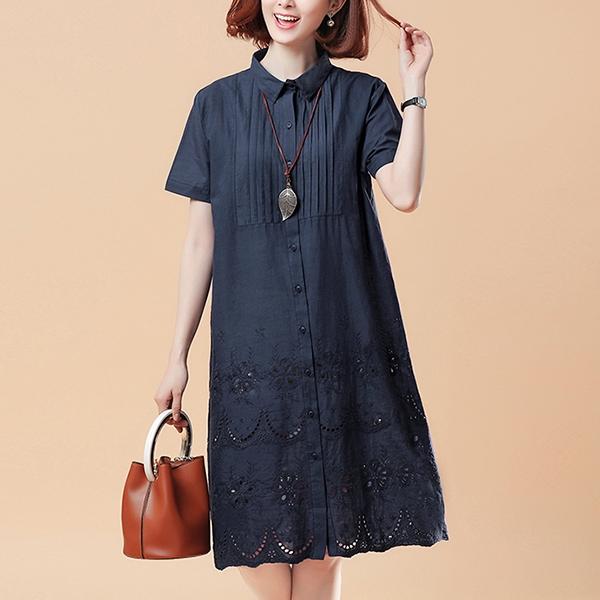 日系百摺下襬蕾絲洋裝-大尺碼 獨具衣格 J3490