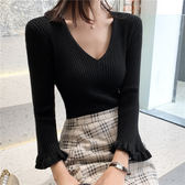 針織衫甜美韓版6304色入秋新長袖上衣韓版喇叭袖打底衫百搭針織衫女ZLE238快時尚