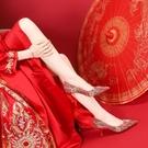 婚鞋女新款紅色高跟鞋細跟