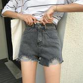 春夏韓版高腰寬鬆顯瘦百搭做舊破洞牛仔褲闊腿褲直筒褲學生短褲女     芊惠衣屋