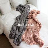 純色針織手工毯沙發裝飾毯粗毛線【極簡生活館】
