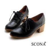 SCONA 蘇格南 全真皮 英倫高質感粗跟牛津鞋 黑色 22606-1