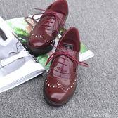 牛津鞋 單鞋布洛克深口圓頭系帶小皮鞋