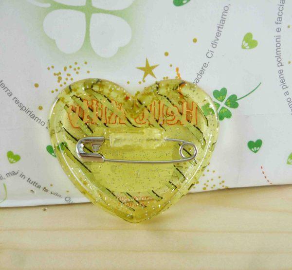 【震撼精品百貨】Hello Kitty 凱蒂貓~KITTY造型別針-心造型-黃綠
