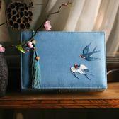 黑五好物節 燕燕于飛 文化禮物中式生活美學復古繡花首飾盒 帶鎖結婚收納盒【櫻花本鋪】