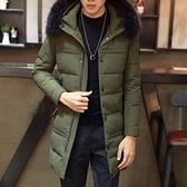 夾克外套-連帽時尚中長版秋冬百搭夾棉男外套2色73qa20[時尚巴黎]