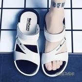 一字拖男士涼鞋2020夏季新款室外穿個性沙灘鞋男涼拖鞋男潮流韓版「時尚彩紅屋」
