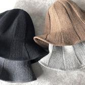 618大促 漁夫帽子女士秋冬天盆帽羊毛混紡針織帽保暖韓國毛線帽日系百搭潮
