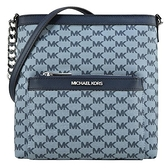 【南紡購物中心】MICHAEL KORS MORGAN織布滿版斜背郵差方包-中/藍