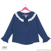 【INI】優雅實穿、好感剪裁雪紡上衣.深藍色