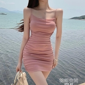 2021年夏季新款氣質抹胸性感吊帶短裙子女收腰包臀緊身顯瘦洋裝連身裙