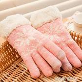 手套女冬季韓版毛線加厚分指手套觸摸屏手套 溫暖享家