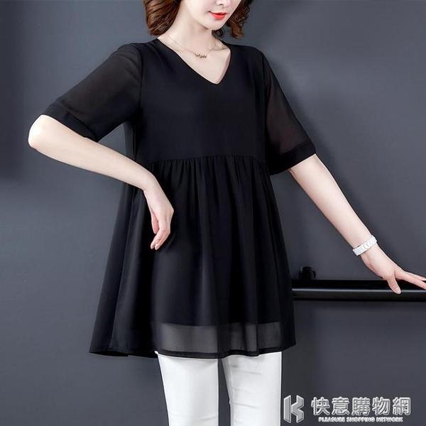 雪紡襯衫女裝2021年新款春夏短袖上衣媽媽洋氣胖mm大碼遮肚子小衫 快意購物網
