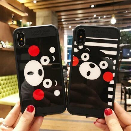 【SZ15】iPhoneX手機殼 鏡面可愛熊本熊 全包軟殼 iPhone7/8plus手機殼 iPhone6s手機殼