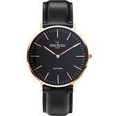 VALENTINO 范倫鐵諾 經典皮革手錶-40mm 71418M黑面玫瑰金黑帶