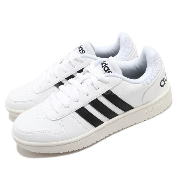 adidas 休閒鞋 Hoops 2.0 白 黑 男鞋 復古奶油底 基本款 運動鞋 【ACS】 EG3970