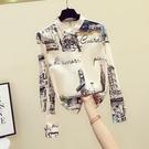雪紡襯衫女復古印花長袖上衣寬鬆顯瘦花襯衣【少女顏究院】
