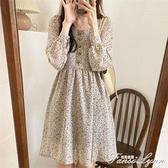 法式小眾桔梗初戀裙子超仙女森系秋裝女長袖小個子復古碎花洋裝 范思蓮恩