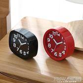 創意學生用兒童靜音鬧鐘女床頭電子時鐘簡約鐘可愛卡通小擺件鐘表CY『新佰數位屋』