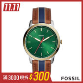 FOSSIL MINIMALIST 駝x藍色條紋極薄款皮革男錶 44mm