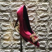 黑色水晶方扣單鞋女新款尖頭水鑽綢緞高