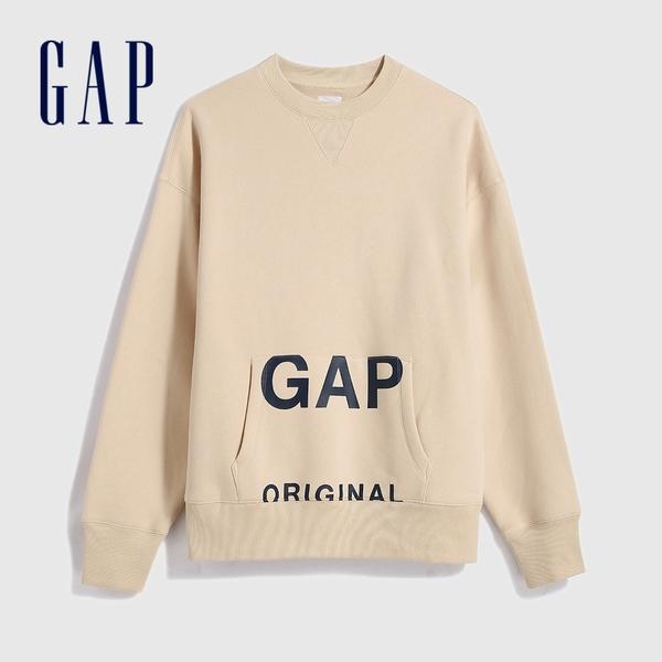 Gap男裝 Logo創意圓領長袖休閒上衣 627531-暖杏色