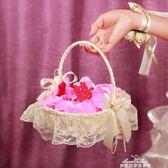 婚禮花童撒花小花籃 結婚慶裝飾用品 伴娘手提蕾絲撒花瓣花籃