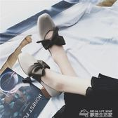 豆豆鞋單鞋女夏韓版百搭學生英倫風復古中粗跟方頭蝴蝶結平底豆豆鞋  夢想生活家