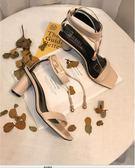 【優選】異型跟金屬裝飾露趾中跟腳腕絆帶涼鞋