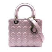 【台中米蘭站】全新品 DIOR Lady Dior 5x5 藤格紋羊皮手提/肩背二用黛妃包(珠光粉)