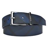 【南紡購物中心】BURBERRY 素色經典格紋針扣男士皮帶(深藍x黑)