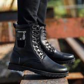 冬季馬丁靴男皮靴潮流軍靴男士高筒鞋雪地短靴加絨保暖男靴子 新主流旗艦店