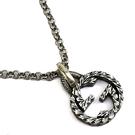 【奢華時尚】GUCCI 復古925純銀雕花 Interlocking G 925純銀雙G墜飾項鍊