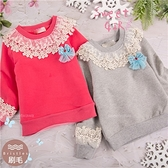 禦寒保暖~圍領織花造型長袖上衣-2色(厚棉,內刷毛)(300844)【水娃娃時尚童裝】