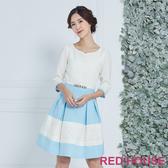 【RED HOUSE 蕾赫斯】愛心領蕾絲剪接洋裝(藍色)(無附腰帶)