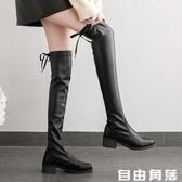 2020秋季新款長筒過膝瘦瘦靴子女網紅機車靴英倫風黑色百搭直筒靴  自由角落