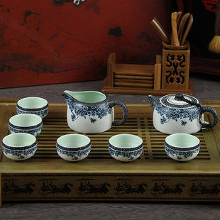 蝶戀花 雪花釉粉青茶具套裝 茶壺 陶瓷