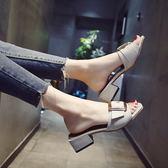 拖鞋女春時尚外穿2018新款百搭時尚韓版粗跟女士涼拖鞋外出一字拖【無趣工社】